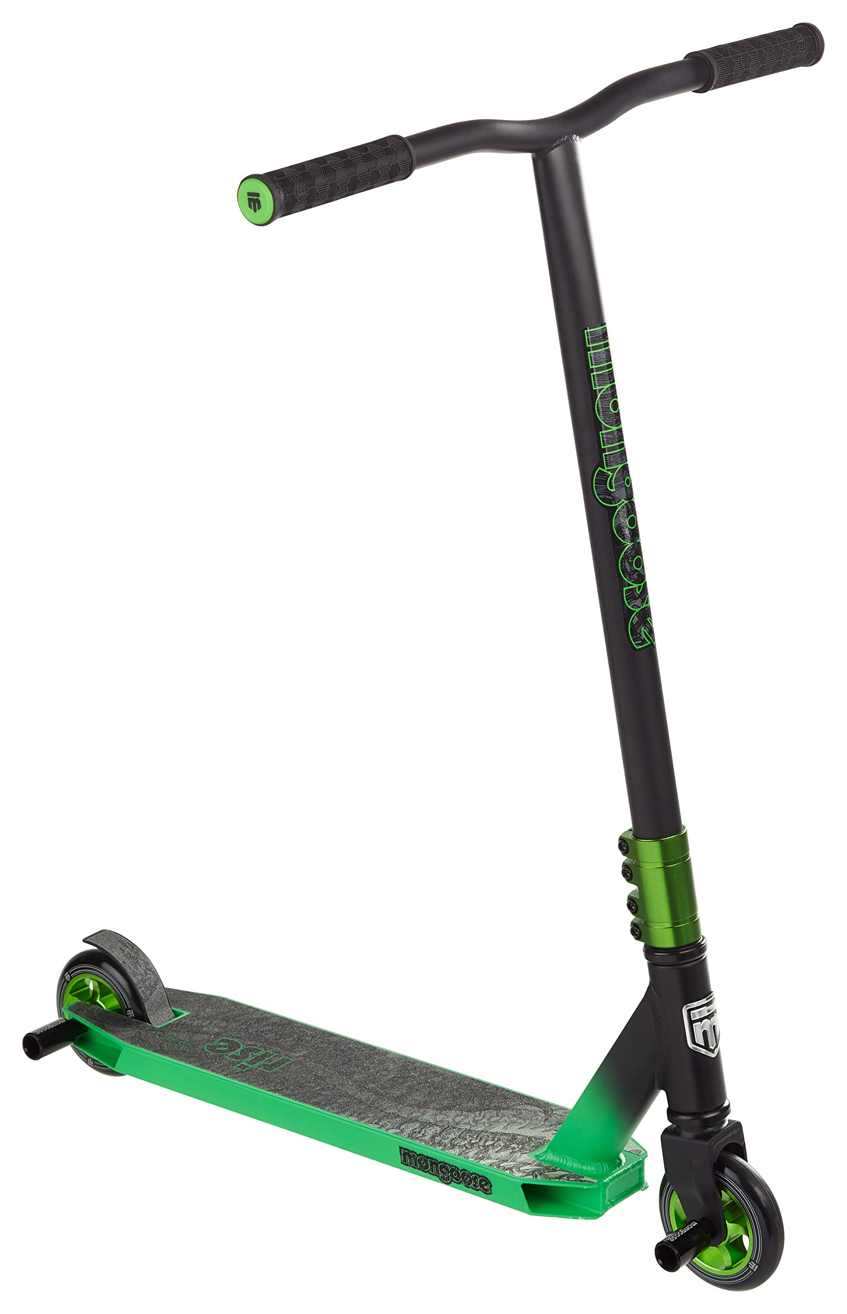 Mongoose Rise 100 Pro Freestyle Stunt Kick Scooter, Featuring Lightweight Alloy Deck with Full-Coverage Max Grip and Bike-Style Handlebars, Wheel Pegs Included, 100mm Alloy Wheels, Black/Green