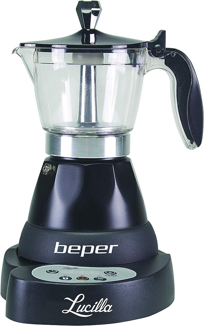 Beper - Lucilla Cafetera Eléctrica de Aluminio Programable de 3 Tazas, Temporizador, Café Caliente durante 30 minutos, Programable hasta 24 h, Negro: Amazon.es: Hogar