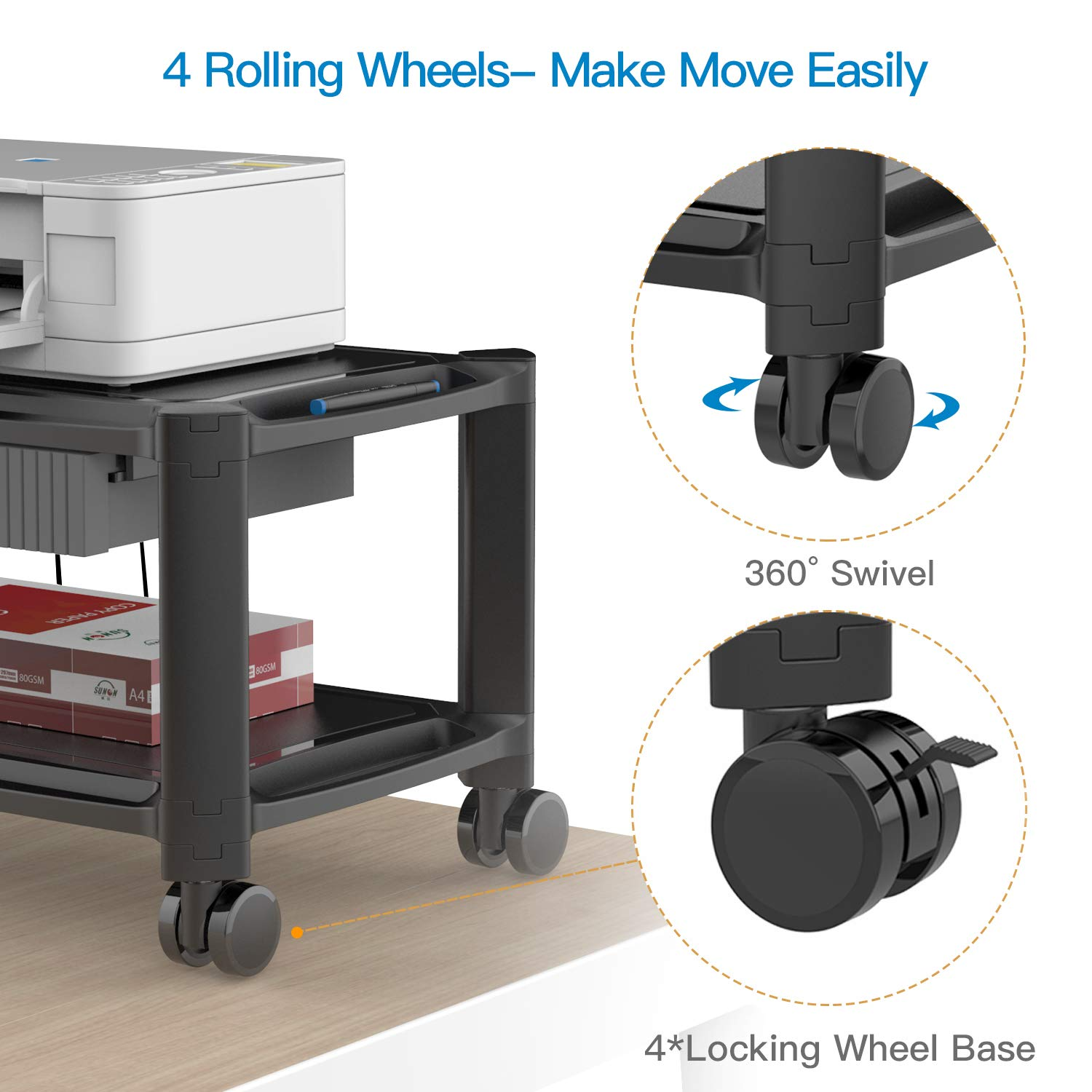 Printer Stand - Under Desk Printer Cart with 4 Rolling Wheels & Storage Drawer, Durable Printer Riser Shelf for Fax, Scanner, Office Supplies by HUANUO by HUANUO (Image #2)
