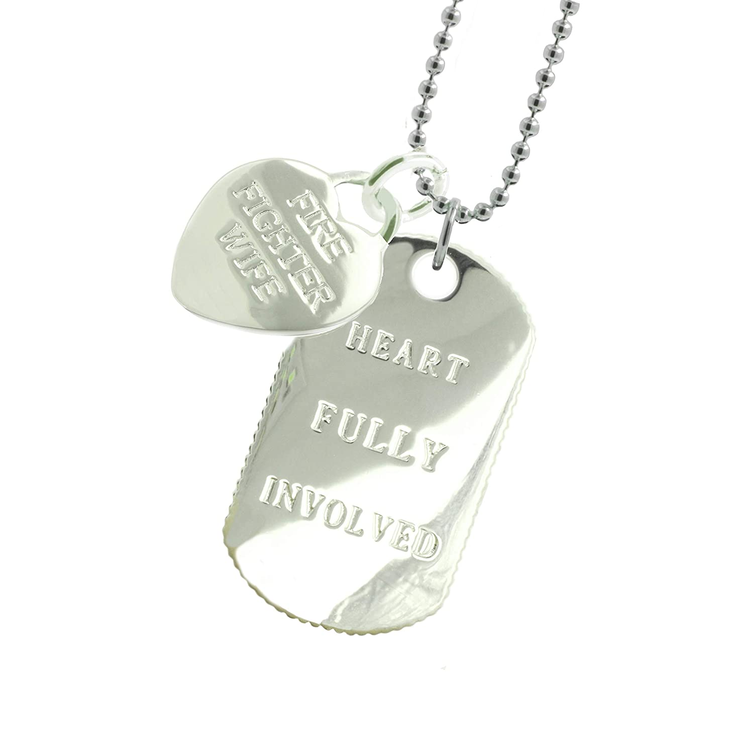 New York 925 & Co. Plated Firefighter Wife Dog Tag