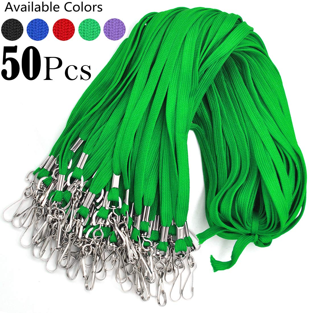 Bulk Lanyard 32'' Flat Lanyards with Swivel Hook Attachment Lanyards with Clip (Green) by Bird Fiy