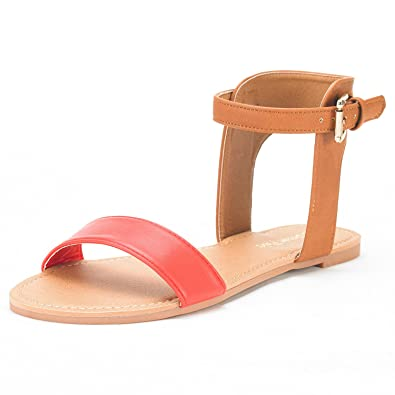 2618535eb DREAM PAIRS Women s Alexa Coral Tan Cute Open Toes One Band Ankle Strap  Buckle Flat Sandals