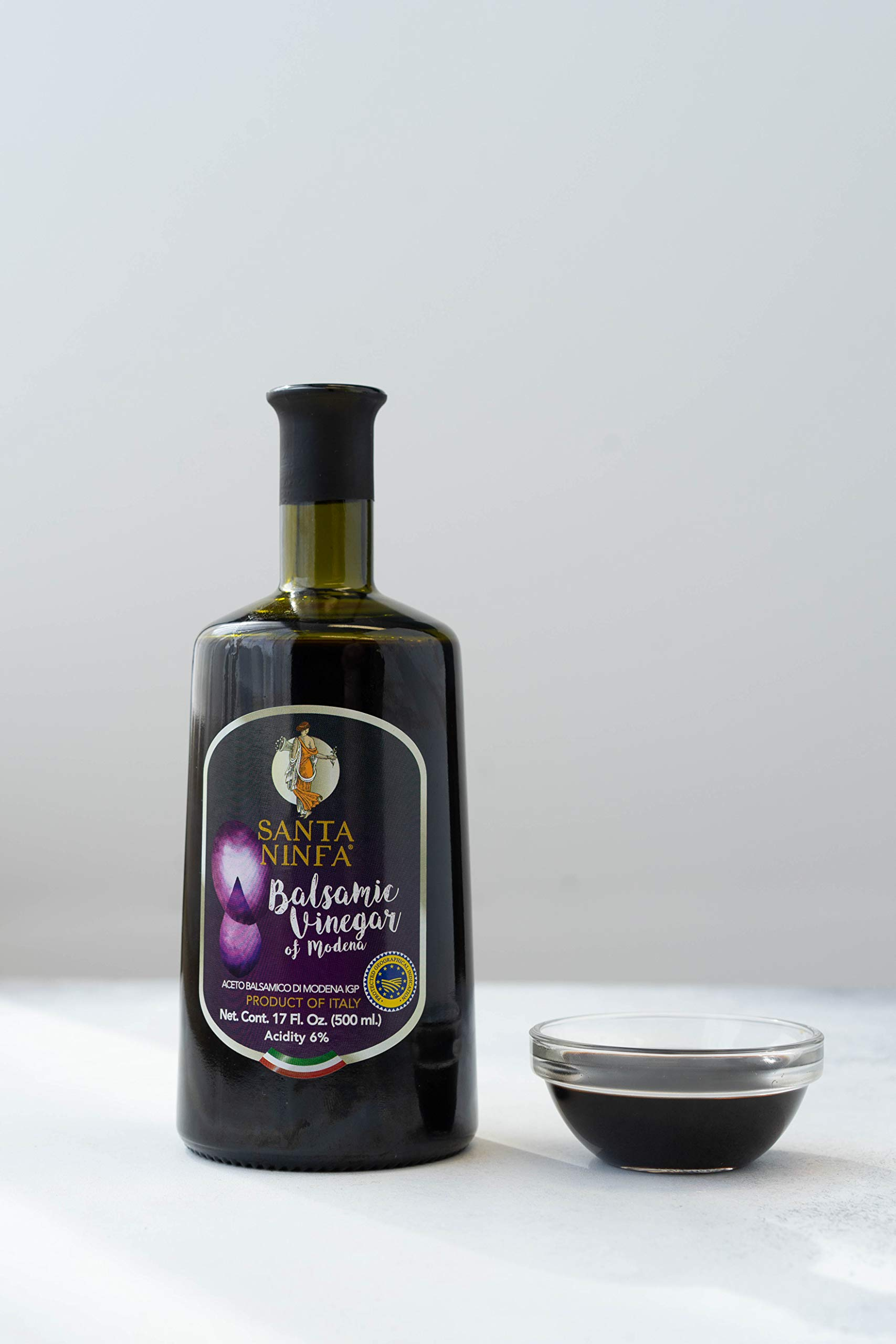 Santa Ninfa Balsamic Vinegar of Modena IGP, 17 Fl Oz Glass Bottle, (Pack of 2) 8 Ships in Amazon Certified Frustration-Free Packaging Pack of two Balsamic Vinegar of Modena, Italy, 17 oz Glass Bottles This Balsamic vinegar is matured in wooden casks to achieve a complex flavor balancing sweetness and acidity.