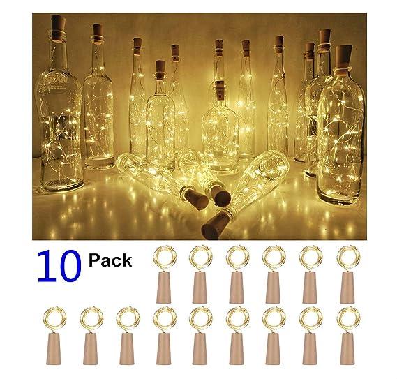 10 pieza 20 LED 2 m botellas de luz blanco cálido Cork String Vino Botella Hada Mini alambre de cobre, batteriebetriebene Estrella luces para DIY ...
