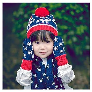 Jelinda® enfant Bonhomme de neige Motif jacquard Crochet  Chapeau écharpe Gants Ensemble aa9d0d7b7b2