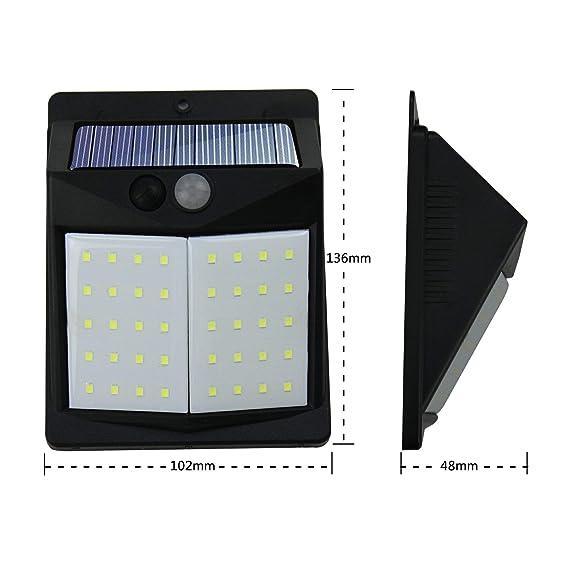 Luz Solar con Sensor de Movimiento,Súper Brillante Hovast [2 Paquetes] 40 LED Foco Solar Exterior Luces Solares Impermeable Lámparas Solares de Pared ...