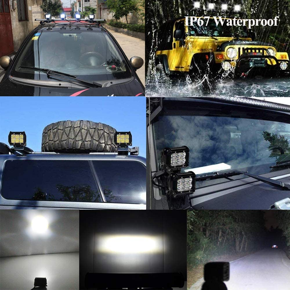 18 Watt 90 degr/é ALPHA DIMA 2X 18W 36W 72W Phare de Travail LED Lampe Voiture Barre ,12V 24V Long Barre Carr/é Feux de Jour LED Imperm/éable IP67 Spot Ext/érieur /Éclairage