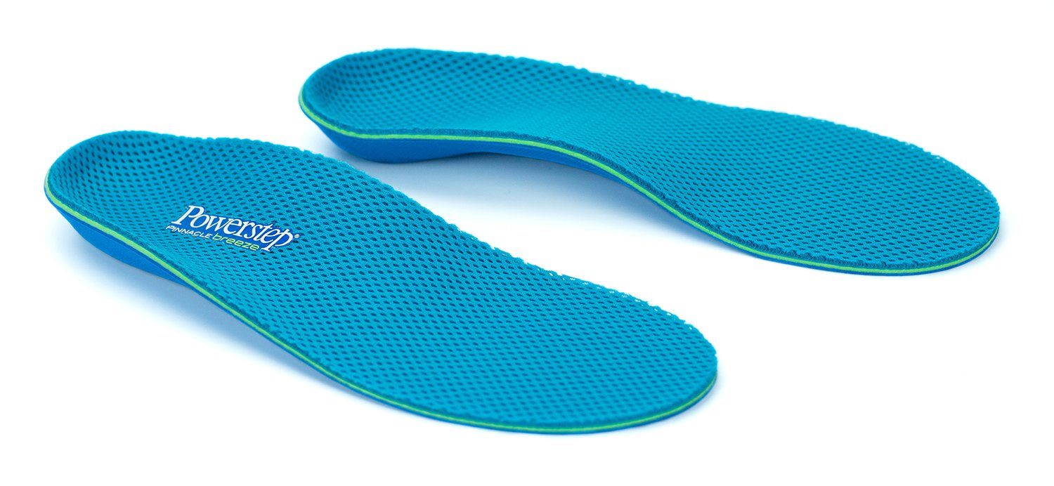 Powerstep Unisex-adult Pinnacle Breeze Shoe Insoles – Shock-Absorbing Arch Support and Cushioning for Plantar Fasciitis, Arch and Heel Pain, Flat Feet and Overpronation, Blue, Men's 7-7.5, Women's 9-9.5 by Powerstep (Image #2)