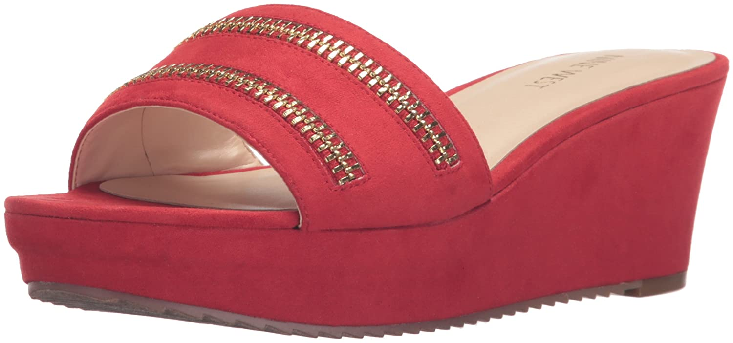 Nine West Women's Camira Leather Wedge Sandal B005AD1OBQ 5.5 B(M) US|Red