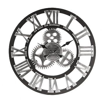 Jeteven Horloge Pendule Murale Horloge A Quartz Lumineuse Vintage