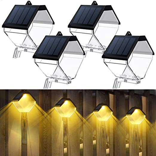 PANMO Solar Deck Lights Outdoor, Garden Decorative Wall Mount LED Lamp, Warm/RGB Color Changing, Solar Fence Lights for Stair Fence Post Patio Porch Backyard, IP65 Waterproof (4 Pack)