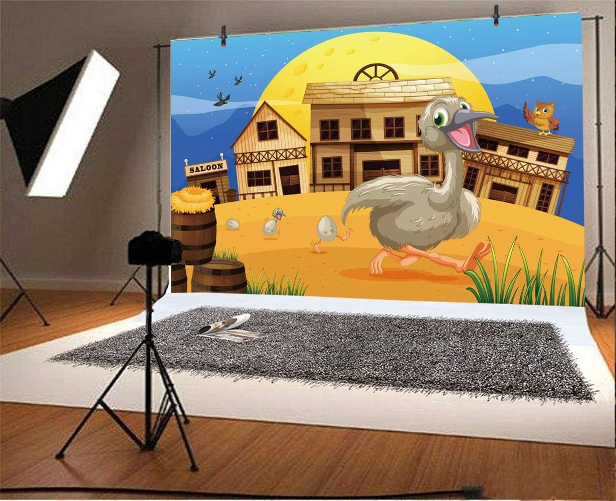 10x6.5ft Wild West Farm Saloon Polyester Photography Background Cartoon Farmhouses Yard Running Hen Chicks Bowies Huge Moon Backdrop Rural Countryside Cowboy Portrait Shoot Western Wallpaper