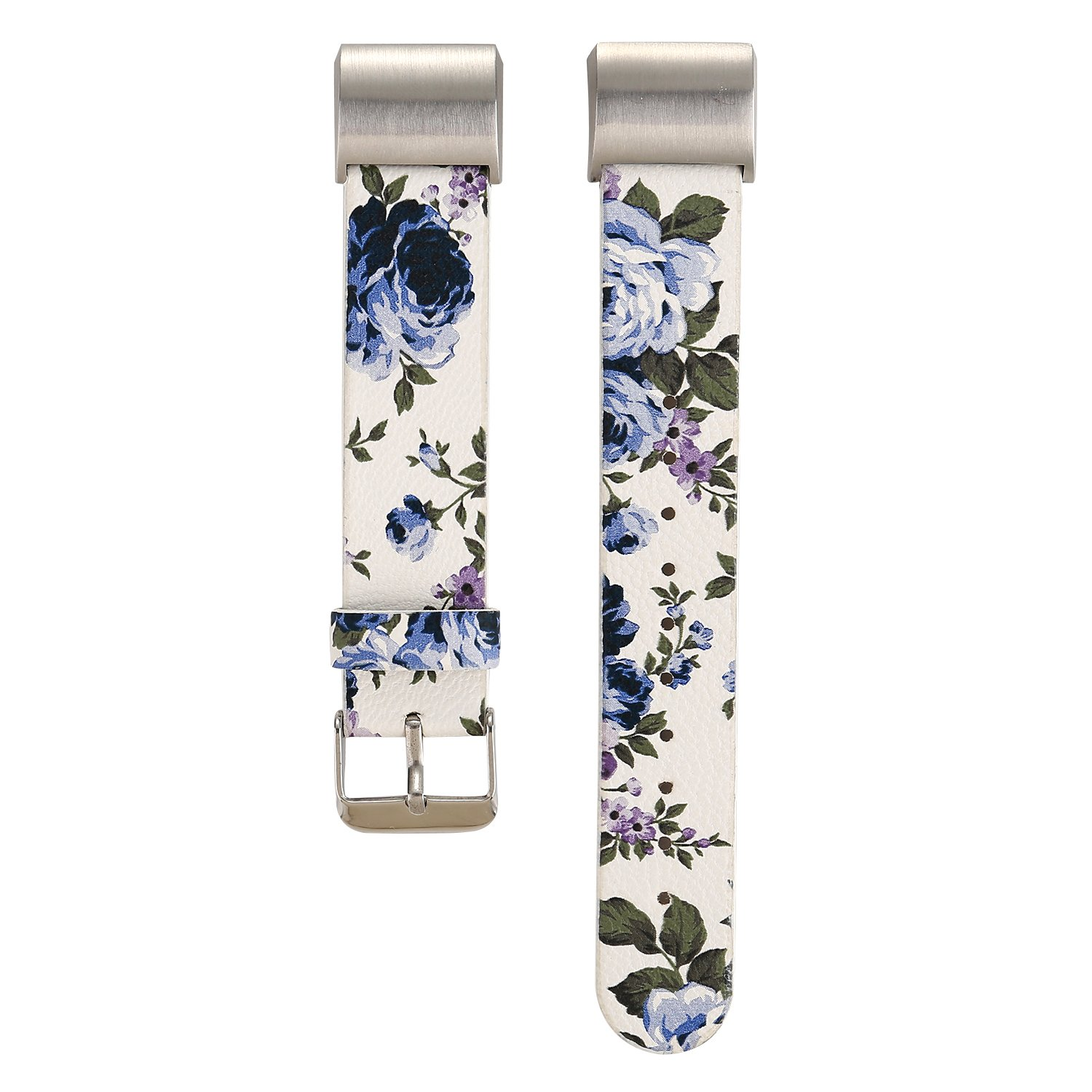 MeShow TCSHOW Compatible for Fitbit Charger 2 Band, Soft PU Leather Pastoral/Rural Floral Style Replacement Strap Wrist Band Compitable for Fitbit Charger 2
