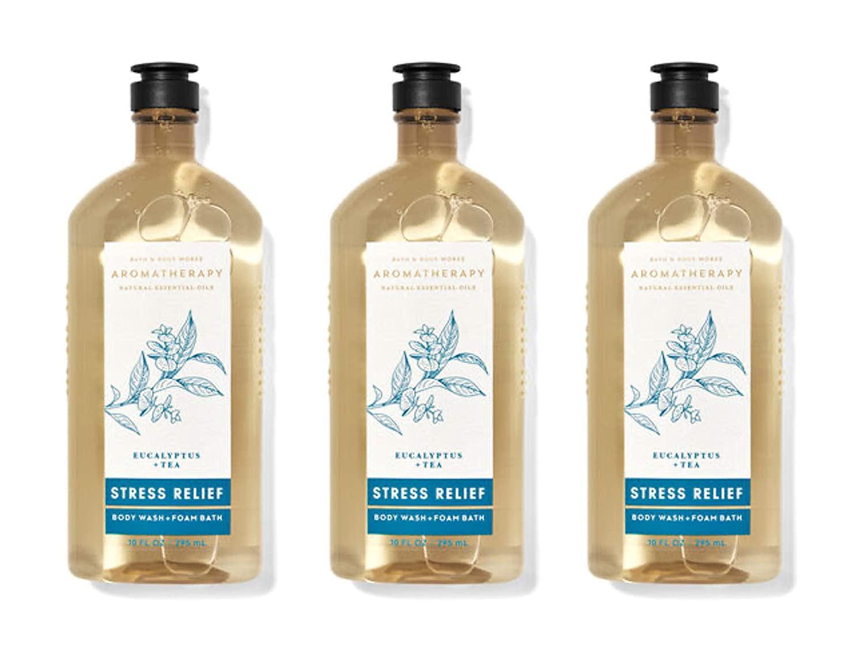 Lot of 3 Bath & Body Works Aromatherapy Stress Relief Eucalyptus Tea Body Wash & Foam Bath (Eucalyptus Tea)