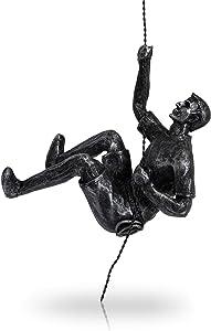 "Basic Fundamentals - Black and Silver Wall Climbing Wall Art - Rappelling Man Wall Sculpture Hanging Wall Art Decor - Unique Climber Sculpture - 7"" x 5"" x 4"""