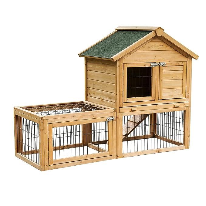 4 opinioni per PawHut La Conigliera Gabbia in Legno per Conigli per Animali Domestici