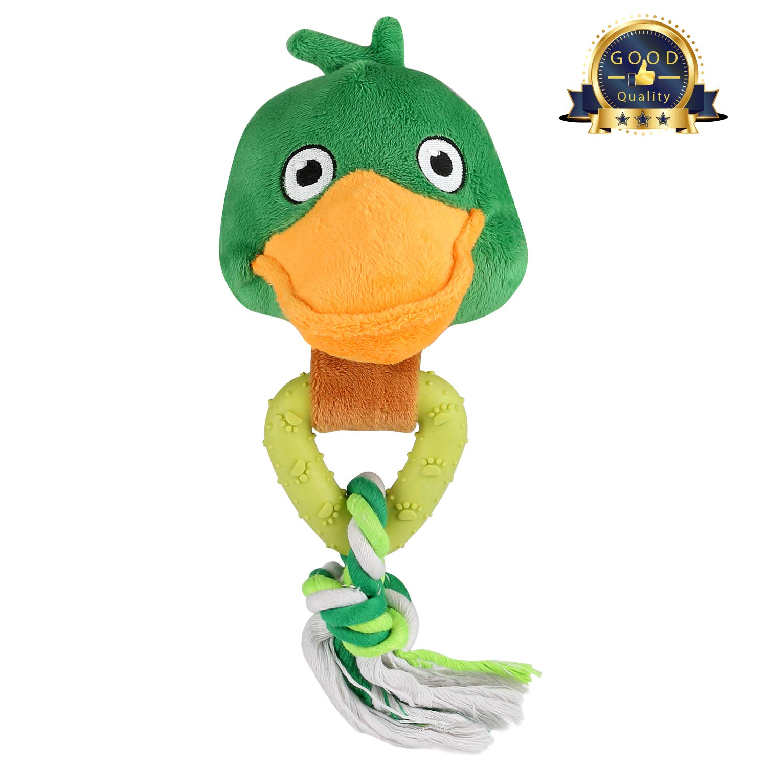Airsspu Dog Chew Toys, Dog Squeaky Plush Toys Cute Duck/Chicken Design, Interactive Durable Dog Squeaky Textured Chew Toy Small Medium Dogs, Non Toxic Cleans Teeth (Green-XY)