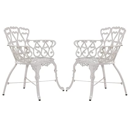 Stupendous Piersurplus Antique Victorian Cast Aluminum Patio Dining Chairs White Heart Set Of Two Prodct Sku Pf01022C Download Free Architecture Designs Embacsunscenecom