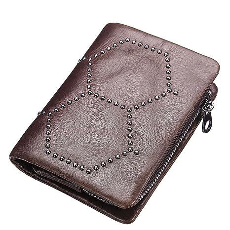 Billetera Remaches de cuero Adorno Hebilla Magnética Unisex Bolso Bolso de mano Bolso de Cremallera Práctico