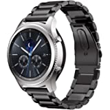 Samsung Gear S3 バンド 【KuGi】 ステンレス鋼 ベルト Samsung Gear S3 時計バンド ビジネス 交換ベルト Samsung Gear S3 交換バンド 腕時計ストラップ ブラック