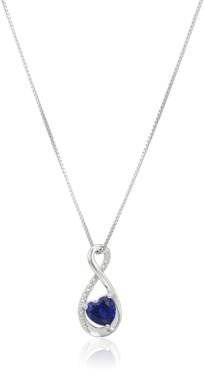 18 Sterling Silver Heart Lab-created Sapphire Pendant with Diamond Pendant Necklace