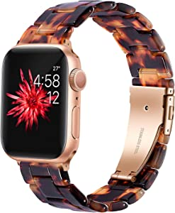 Wongeto Compatible Apple Watch Band Women Men- Fashion Resin iWatch Band Bracelet with Copper Stainless Steel Buckle for Apple Watch Series 6 SE/5/4/3/2/1 (Rose Gold+Tortoise, 38mm/40mm)