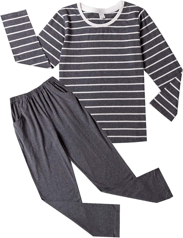 Amazon.com: Big Boys Fashion Strips Loose Cotton Pajama Set Pants Shorts Top  Sleepwear 8-17Years: Clothing