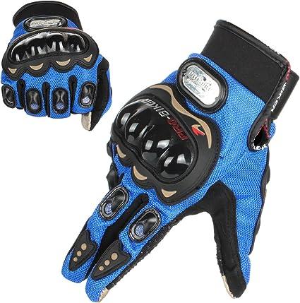 L, Azul GES Men Outdoor Motorbike Waterproof Gloves Motocicleta Full Finger Touch Screen Racing Motocross Guantes