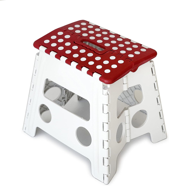 Taburete Multiuso Plegable con Asa, 32 cm de Altura | Uso versátil para Camping, Pesca y o Trabajos puntuales en jardinería (Blanco-Rojo)