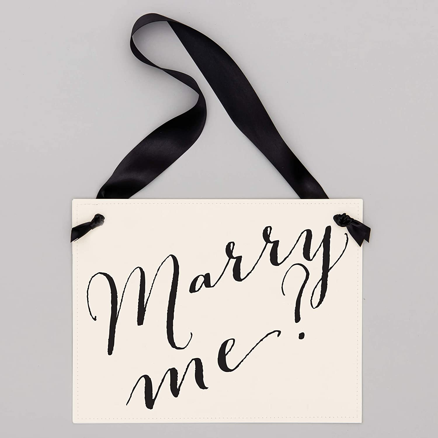 on Back Handcrafted Engagement Banner Prop Ribbon on Ivory Cardstock Double SidedMarry Me? +I Said Yes Black ink Marry Me Proposal Sign
