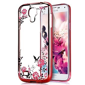 Kompatibel mit Galaxy S4 Hülle,Malerei Schmetterling Blumen Rebe Glänzend Glitzer Strass Diamant Überzug TPU Silikon Handy Hü