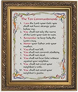 Gerffert Collection The Ten Commandments Framed Writen Inspirational Print, 13 Inch (Ornate Gold Tone Finish Frame)