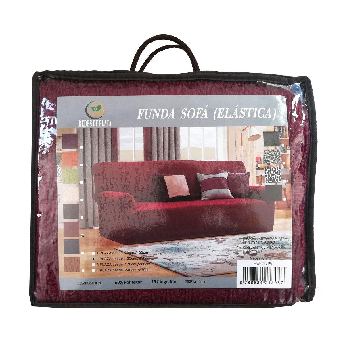 Dabuty Online, SL Funda para Sofa Elastica Dos plazas Color Rojo. De 135 a 210 cm