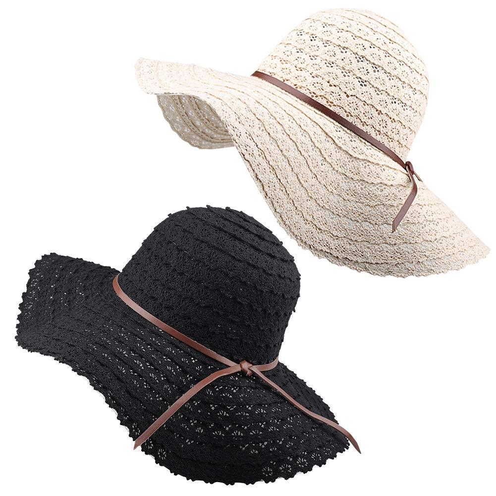 FURTALK Summer Beach Sun Hats for Women UPF Woman Foldable Floppy Travel Packable UV Hat Cotton, Wide Brim Hat (Medium Size (Head Size 22.44''), Beige/Black) by FURTALK