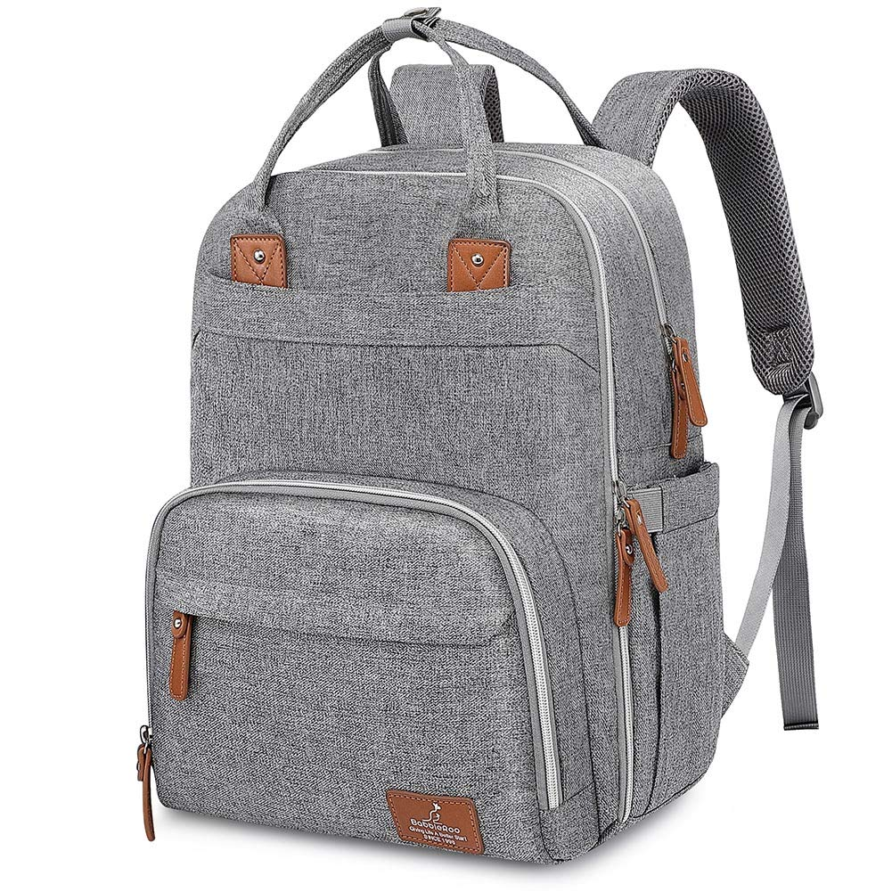 Diaper Bag Backpack, BabbleRoo Neutral Travel Back Pack for Mom & Dad, Large Capacity Waterproof Baby Nappy Changing Bags for Boys & Girls, Multifunction & Stylish, Gray by BabbleRoo