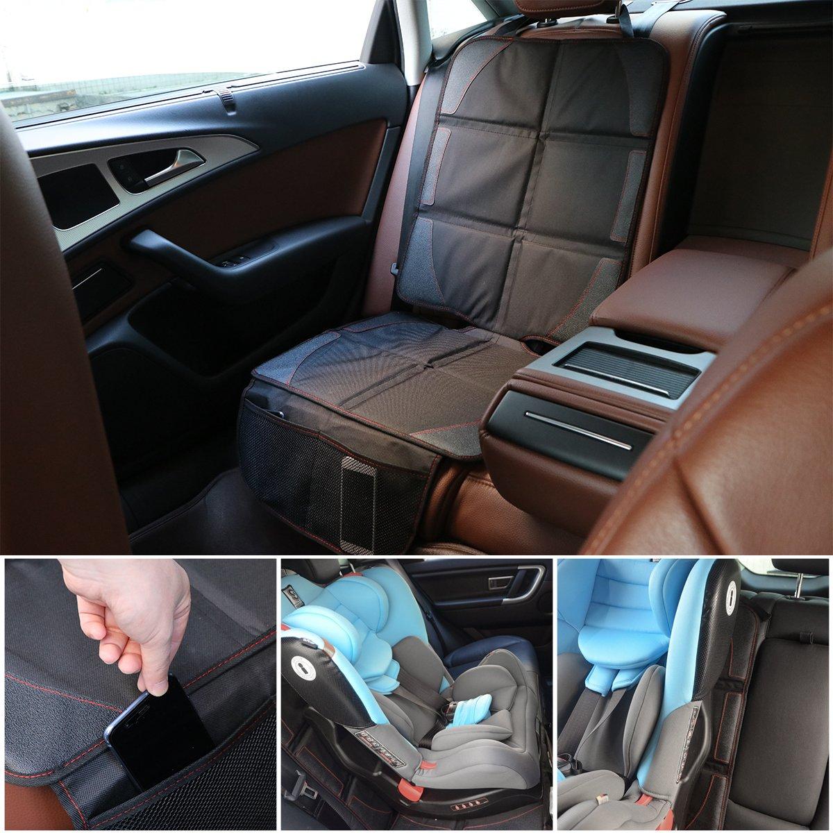 Auto kindersitzunterlage Autositzauflage mit Netztasche Schutzmatte Kindersitz Anti-Rutsch-Auflage Schoner mingpinhui