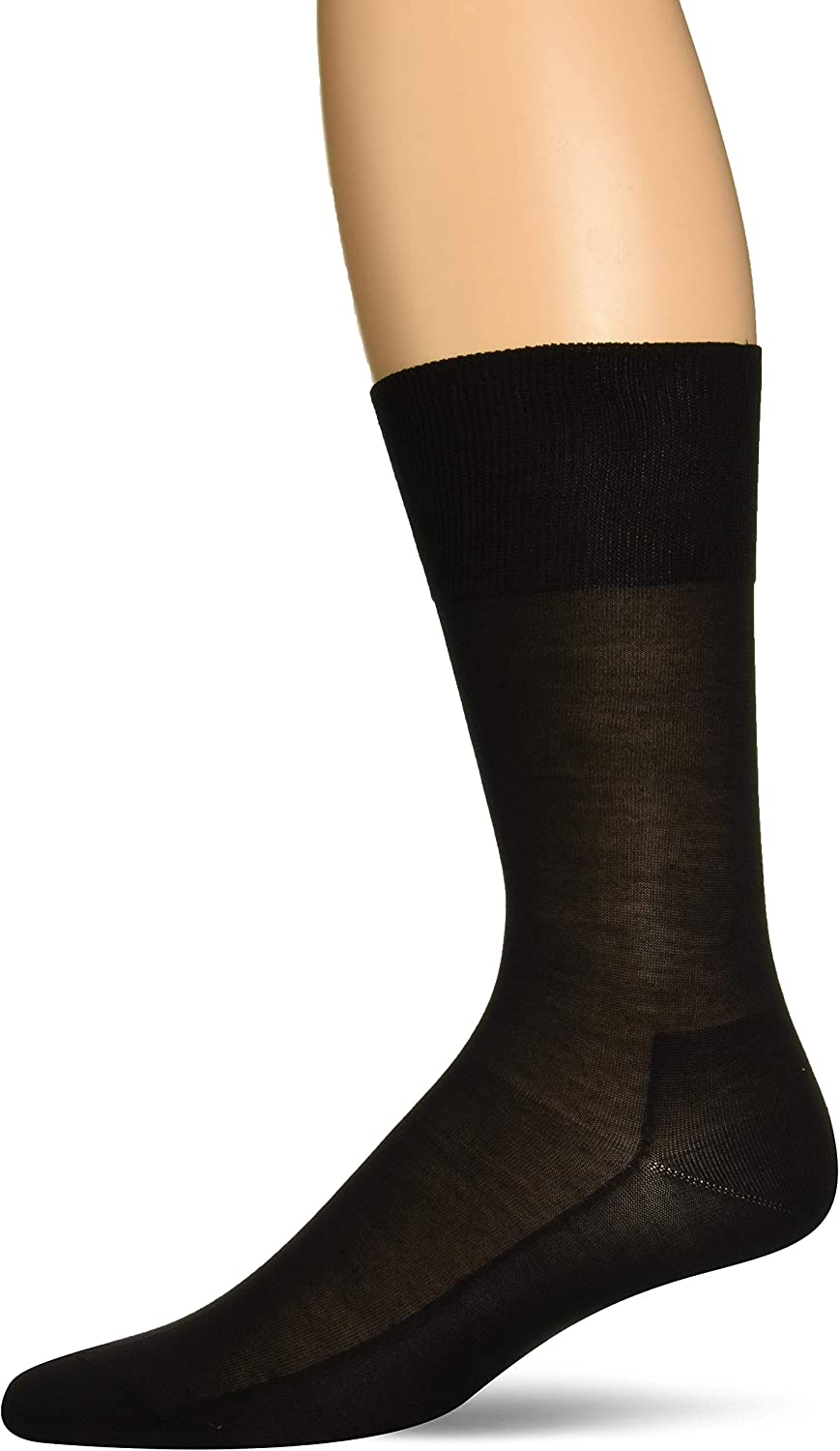 FALKE Mens No. 4 Pure Silk Dress Sock - 92% Silk, Black, US sizes 6.5 to 13.5, 1 Pair