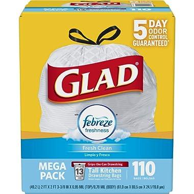 Glad OdorShield Tall Kitchen Drawstring Trash Bags - Febreze Fresh Clean - 13 Gallon - 110 Count