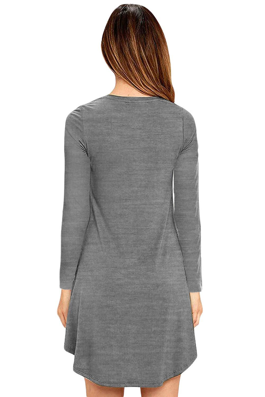 Eanklosco Damen Kleid Beiläufig V-Ausschnitt Lange Ärmel T Shirt Kleid mit Taschen (XL, Grau)