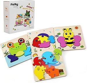 Felly Juguetes Bebe, Juguetes Montessori, Puzzles de Madera Educativos para Bebé, Juguetes niños 1 año 2 3 4 5 6 años, Dibujo de Animal Colorido con Placa, Regalo de cumpleaños, Navidad