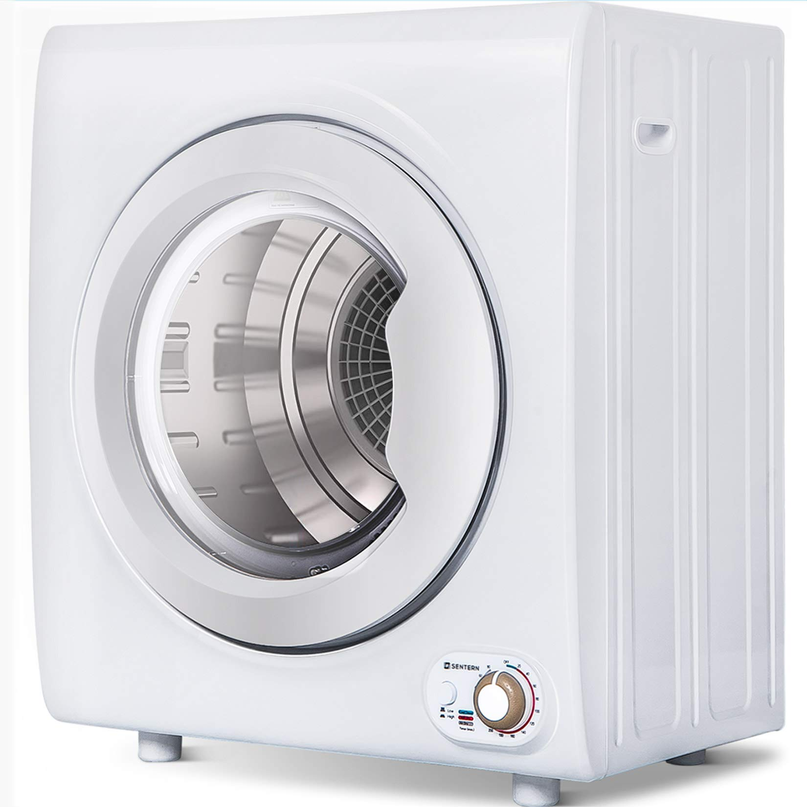Sentern Compact Laundry Dryer, Electric Portable Clothes Dryer with Stainless Steel Tub, Control Panel Downside Easy Control with 4 Automatic Drying Mode, White