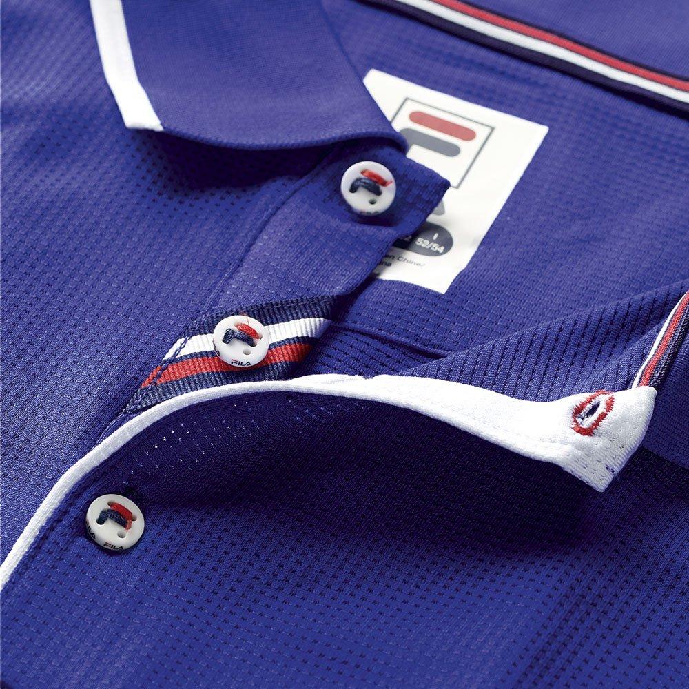 Fila Men's Heritage Mesh Polo Shirt, Clematis Blue, White, M