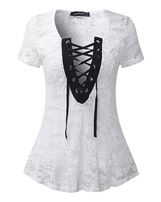 StyleDome Mujer Camiseta Playa Verano Encaje Blusa sin Mangas Cortas Cuello Pico con Tiras Blanco S