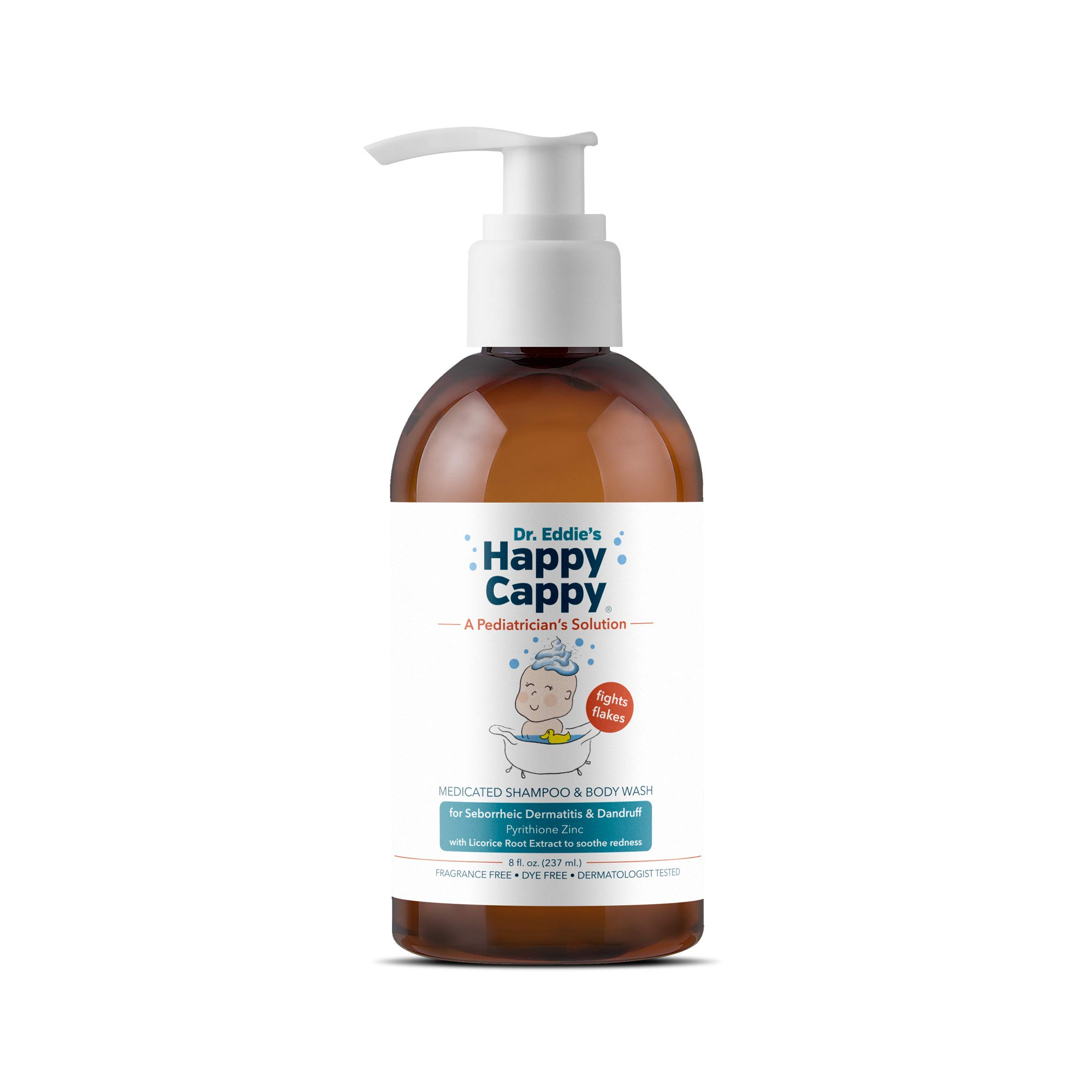 Dr. Eddie's Happy Cappy Medicated Shampoo for Children, Treats Dandruff and Seborrheic Dermatitis, Clinically Tested, Fragrance Free, Stops Flakes and Redness on Sensitive Scalps and Skin, 8 oz by Happy Cappy