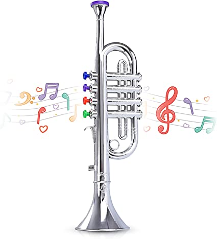 Kids 4 Note Children/'s Silver Toy Trumpet Musical Instrument NEW