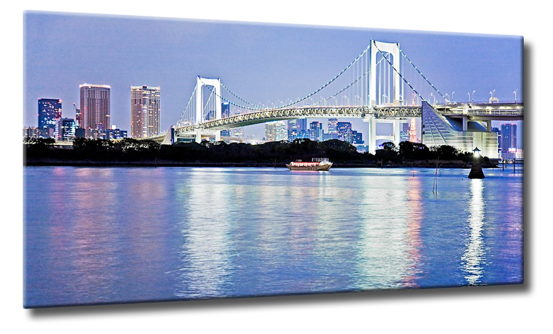 Fine-Art-Manufaktur Kunst Bild Brücke Nacht Tokio Tokyo Blau Japan   Rainbow Bridge in Tokio   Farbe  blau   Rubrik  asien + Städte