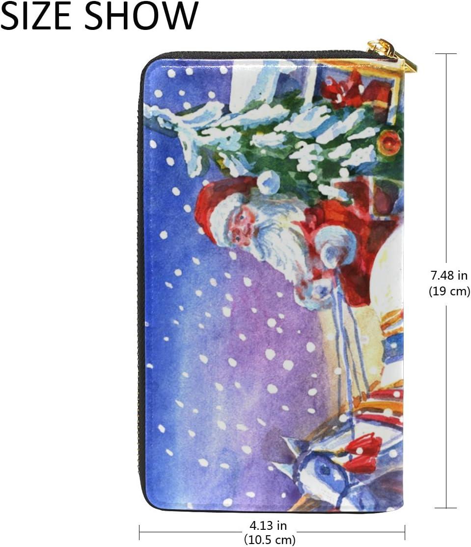 COOSUN Pelle Babbo Natale con il cavallo della frizione della borsa Portafoglio Card Holder Organizer L Multicolor # 006