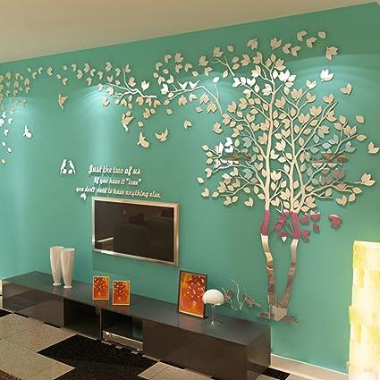 Amazon.com: N.SunForest 3D Crystal Acrylic Couple Tree Wall Stickers ...