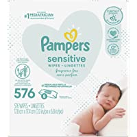 Pampers Baby Wipes Sensitive Perfume Free 8X Refill Packs (Tub Not Included) 576 Count (Packaging May Vary)