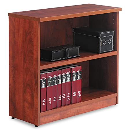 Alera Valencia Series Bookcase Storage Cabinet, 2 Shelves, 32 W by 14 1 2 D by 30 H, Medium Cherry